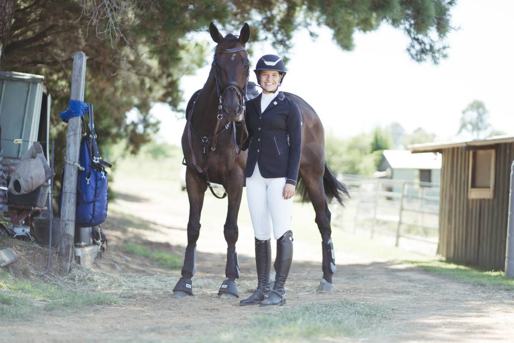 Canberra equestrian Hannah Klep and her horse Reprieve at her home in Wallaroo. Picture: Dion Georgopoulos
