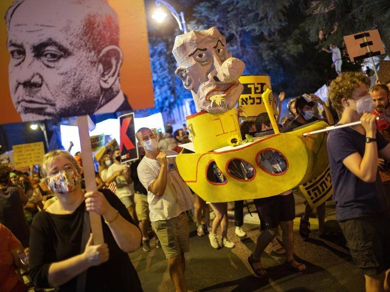 Israelis are protesting Prime Minister Benjamin Netanyahu and coronavirus restrictions.
