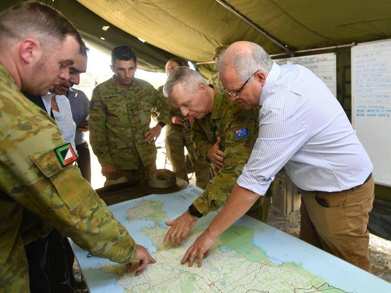 Scott Morrison visits the Defence Staging Ground on Kangaroo Island during the summer bushfires.