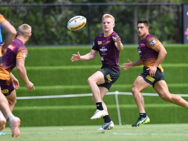 Tom Dearden (c) will debut in Brisbane's No.7 jersey against South Sydney on Thursday.