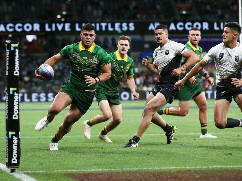 David Fifita (L) has shone in Australia's league World Cup Nines-opening 25-12 win over New Zealand.