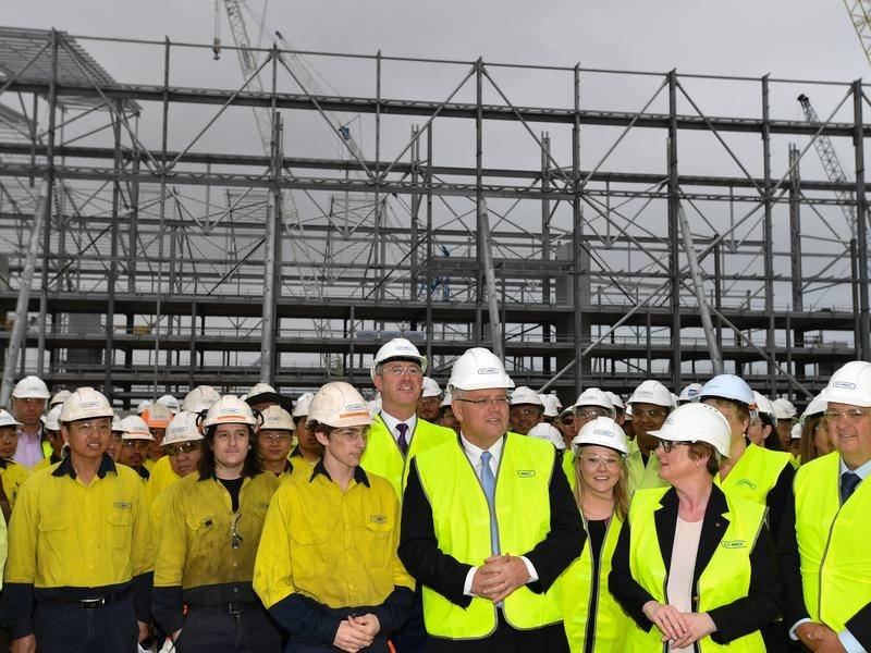 Prime Minister Scott Morrison visits the Civmec ship building facility in Henderson, south of Perth.