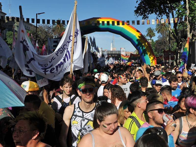 Thousands of people in Buenos Aires, Argentina have taken part in the city's annual pride parade.