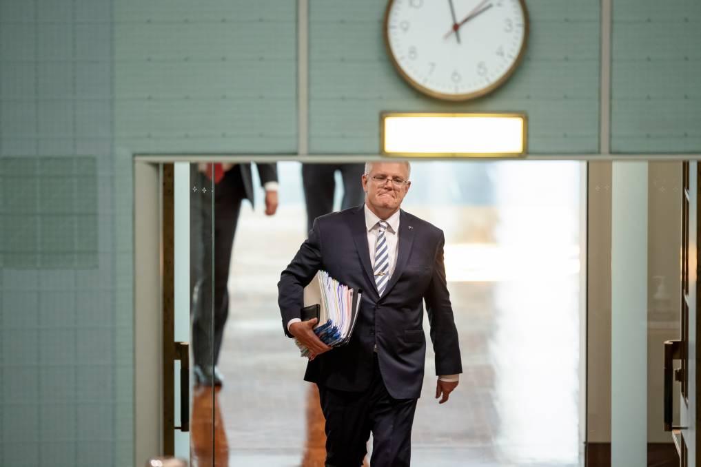 Heading for the exit? Prime Minister Scott Morrison. Picture: Sitthixay Ditthavong