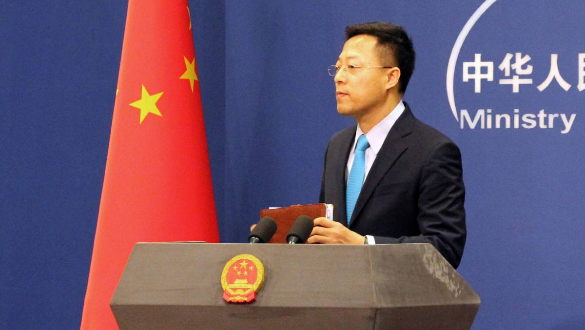 Chinese Foreign Ministry spokesman Zhao Lijian has pinned the tweet which sparked a diplomatic row to the top of his Twitter profile page. Picture: Getty Images