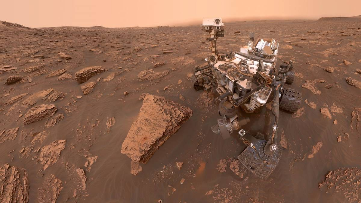 A self-portrait of NASA's Curiosity Mars rover at a drilled sample site on the slopes of Mount Sharp, Mars. Picture: Getty Images