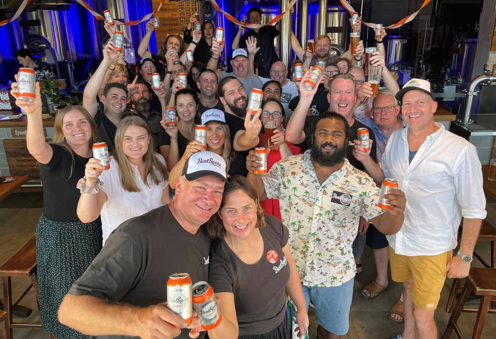 BentSpoke co-owner and head brewer Richard Watkins (front) and the BentSpoke crew celebrate their win. Picture: Supplied