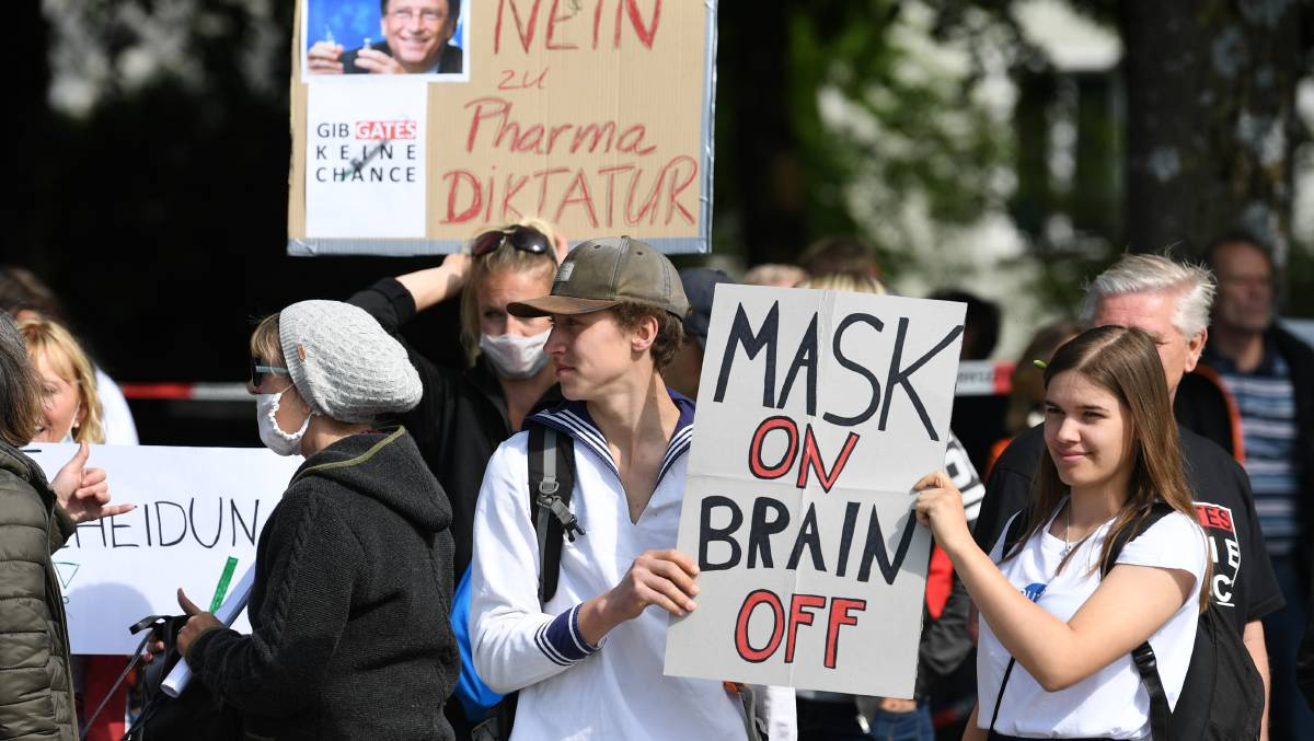 Residents of Munich protest against lockdown measures in May. Picture: Getty Images