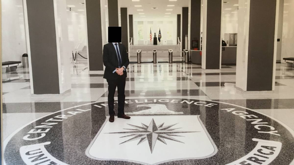 Witness J at CIA headquarters in Langley, Virginia. Picture: Supplied