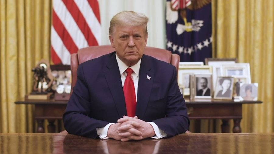 US President Donald Trump addresses the nation in a video message. Picture: Twitter/@WhiteHouse