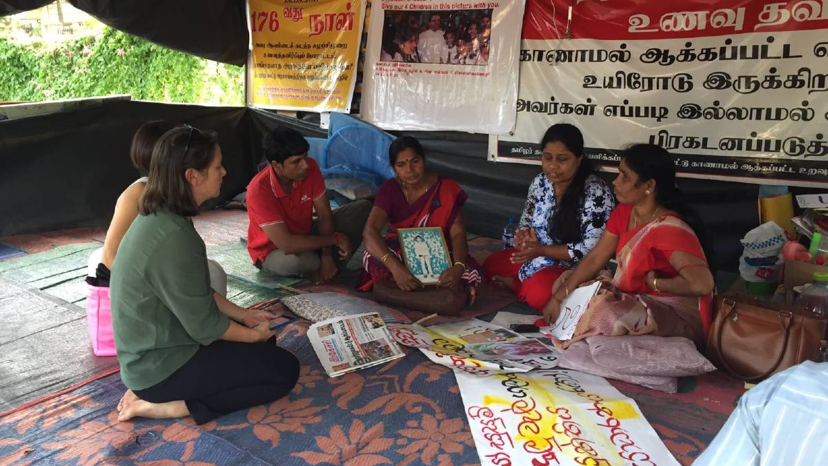 Elaine Pearson meets with mothers protesting the enforced disappearance of their sons in Vavuniya, Sri Lanka, in 2017. Picture: Human Rights Watch