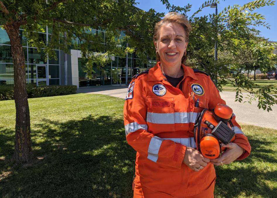 ACT SES volunteer Tammy Bennett has been volunteering for eight years and faced Canberra's ferocious fire season and hail storm in 2020. Picture: Sarah Basford Canales